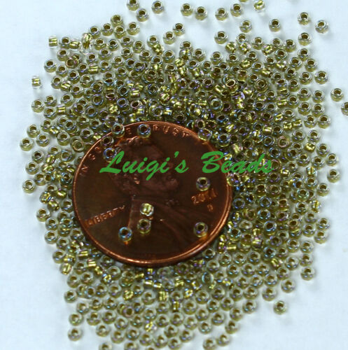15//0 Round TOHO Japan Glass Seed Beads #262-Crystal//Gold Lined 10 grams