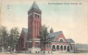 Hand-Colored-Postcard-First-Presbyterian-Church-in-Rushville-Indiana-129120