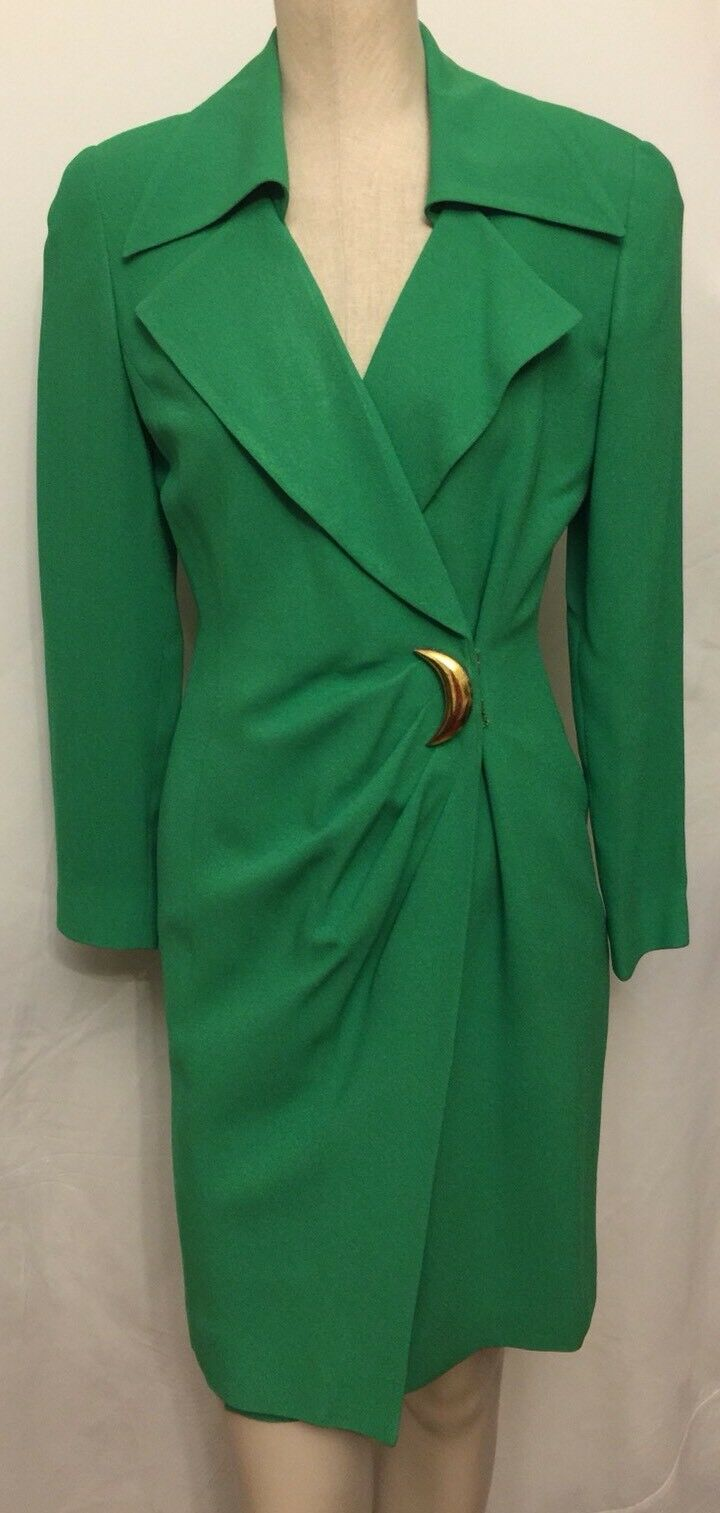 Vintage Tahari Bright Green SZ 4 Longsleeves Dress
