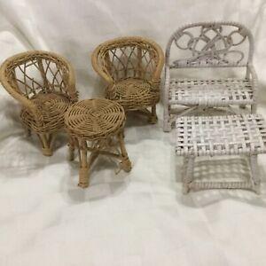 Vintage Wicker Dollhouse Doll Furniture