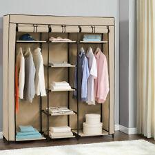 NEU.HOLZ® Kleiderschrank 160x70cm Beige Stoff Falt Schrank Wohnzimmer Garderobe