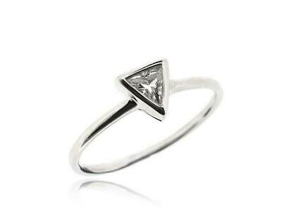 White Cubic Zirconia Solitaire Triangle Ring Women 925