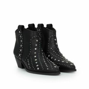 8d9ad03b9 SAM EDELMAN BRIAN BLACK LEATHER STUDDED WESTERN ANKLE BOOTS 8.5 NEW ...