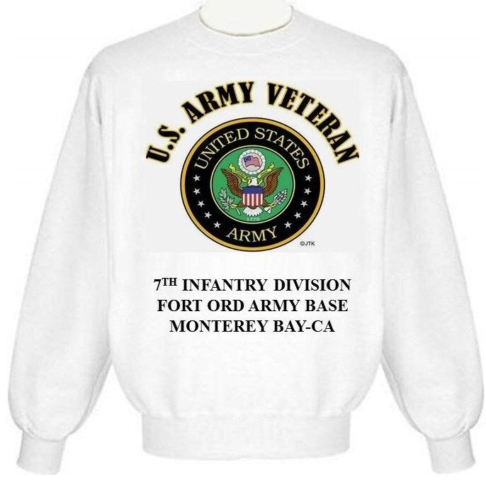 FORT ORD ARMY BASE 7TH INFANTRY DIVISION MONTEREY-CA  ARMY EMBLEM SWEATSHIRT