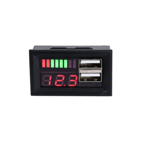 1Pc 12V LED Lead Acid Battery Dual USB Charger Capacity Voltage Indicator Meter