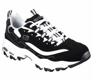 Shoes-Skechers-Casual-Men-Memory-Foam-52675-W-Wide-Fit-BKW-Black-Leather-D-039-Lites