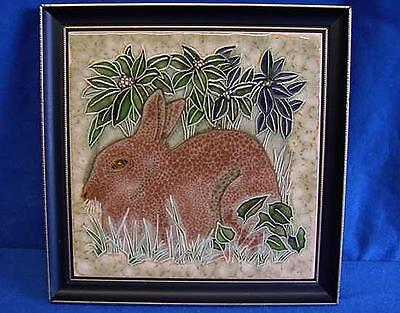 MAWS TUBELINED MAJOLICA TILE OR PLAQUE - RABBIT - FRAMED HANDPAINTED PICTURE