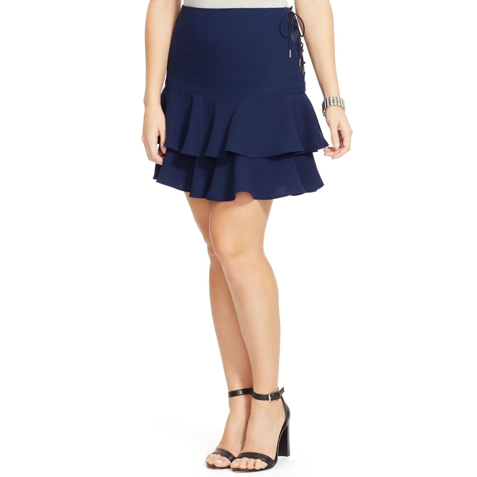 Lauren Ralph Lauren damen Leather Trim Ruffle Skirt Capry Navy Größe 2