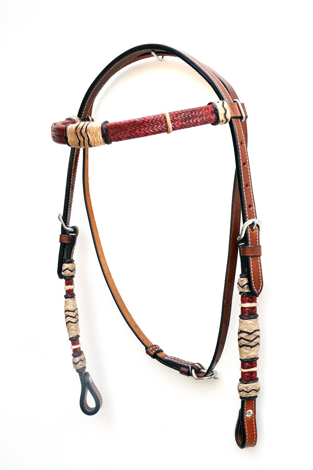 Western Marronee Rawlhide Set of Head Sttutti  Breast collar Reins Spur e Curb Strap