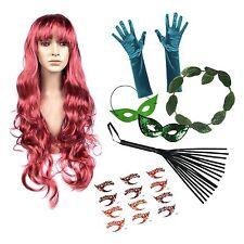 Poison Ivy Deluxe elaborado vestido set (peluca, Guantes, Halo, máscara, látigo, Tatuajes)