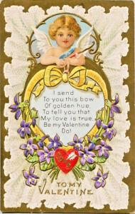 Antique-Valentine-CUPID-SENDS-BOW-LOVE-POEM-VIOLETS-LACE-Gold-Embossed-Postcard
