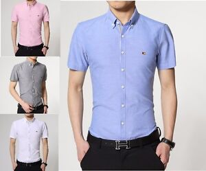 Para-Hombres-Camisas-Mangas-Cortas-Vestido-Formal-Informal-Slim-Fit-Camisa-Top-S-M-L-XL-PS16