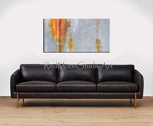 48x24-Abstract-Art-Painting-Gray-Orange-Yellow-Green-US-Artist-Mid-Century