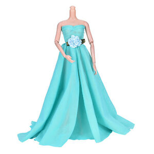 Green Wedding Dress Princess Kids Toys For Barbie with Decorative Pattern TB