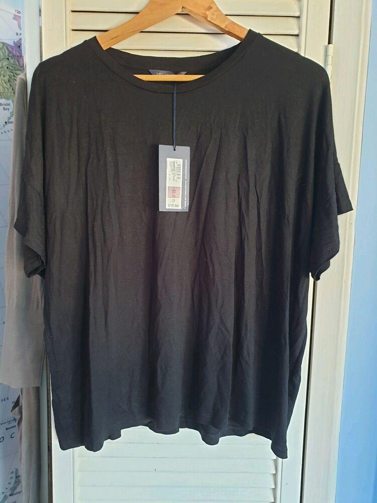Bnwt Marks Et Spencers Noir T Shirt Taille 22