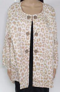 Multiples Women's Jacket White Beige Size 2X Plus Leopard Printed $85 #015