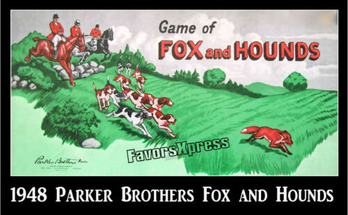 VINTAGE 1948 PARKER BROS FOX AND HOUNDS GAME MAGNET~Thin Flexible 4 X 2.5 in.