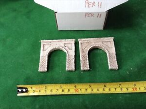2x Single Tunnel -n Scale Gauge- - Painted -urban Concrete Type