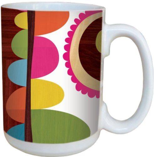 Retro Collage Multi-Colored Ceramic Coffee Large Mug -Tree-Free Greetings 79107