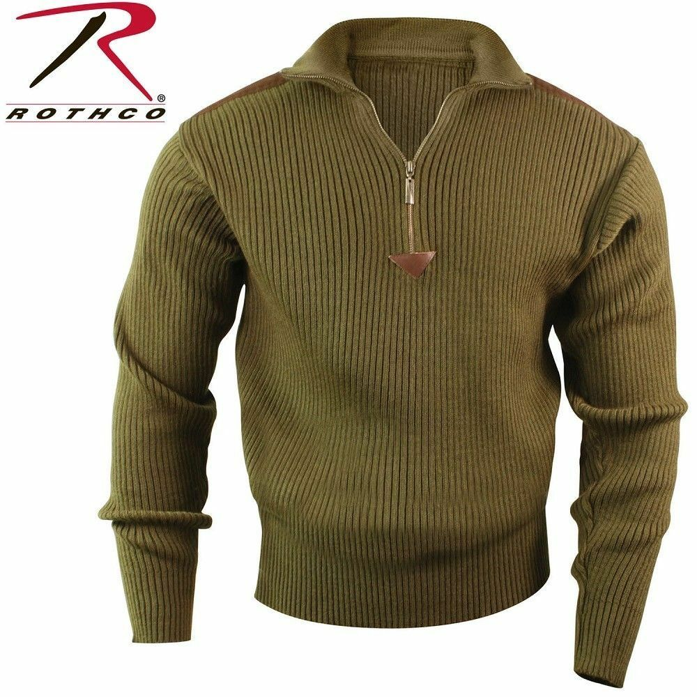 redHCO 3370 QUARTER ZIP OLIVE DRAB COMMANDO SWEATER W  SHOULDER PATCHES S-3X