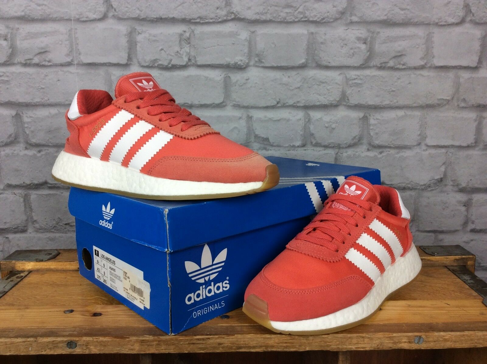 ADIDAS LADIES  3 RED WHITE GUM I-5923 BOOST TRAINERS RRP