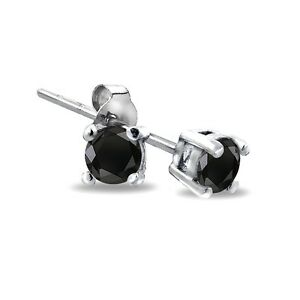 Sterling-Silver-1-4ct-Treated-Black-Diamond-3mm-Stud-Earrings