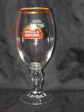 STELLA ARTOIS CHALICE GOBLET LAGER WINE PINT GLASS GOLD RIM WIDGET BASE