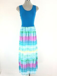 561d8140887 Image is loading Calvin-Klein-NWT-Turquoise-Knit-combo-Maxi-Slimming-