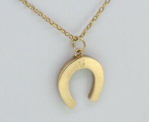 Collar de Oro de 9ct - 9ct Oro Amarillo Cadena Colgante herradura