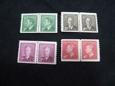 Canada:1949 -1951 King George VI - Inscription - 4 X Mounted Mint Coil Pairs