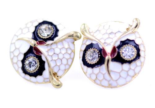 Art Deco style gold tone enamel owl head charm stud earrings