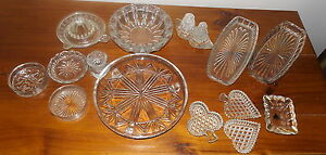 Lot-of-Vintage-Depression-Pressed-Glass-Pieces-Cake-Plate-Sandwich-Dishes-Bulk