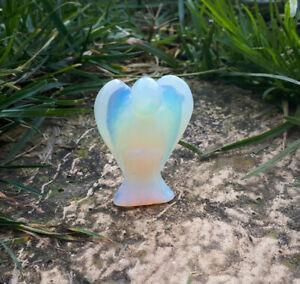 cristalloterapia scultura ANGELO OPALITE statua fatta a mano spirito anima cuore