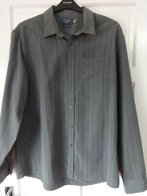 #o05 - Grigio L/manica Camicia A Righe Da Atlantic Bay-taglia Xl-nuovo Senza Etichetta- Gamma Completa Di Articoli