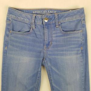 American-Eagle-Womens-Jeans-Skinny-Jeggings-Denim-Super-Stretch-Blue-Size-6