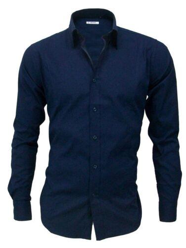 Camicia Uomo Slim Fit Cotone Elastico Manica Lunga Colori Vari