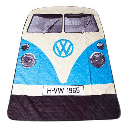 VW Kombi Beach and Picnic Blanket Blue
