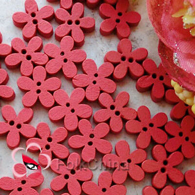 Red Cute Flower 11mm Wood Buttons Sewing Scrapbooking Cardmaking Craft NCB046-2