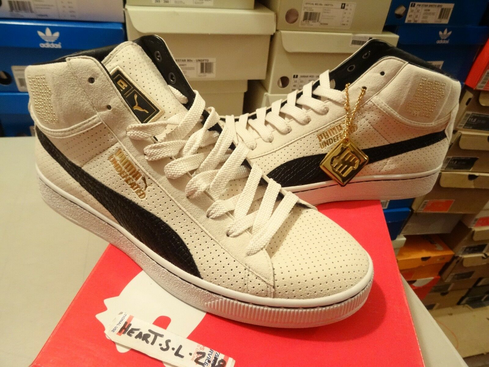 NEW PUMA UNDFTD MID UNDEFEATED 24K gold PACK WHISPER WHITE BLACK 348216-03 SZ 13