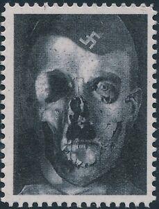 Stamp-Replica-Label-Germany-0096-WWII-German-Fuhrer-Hitler-Skull-Rot-Face-MNH