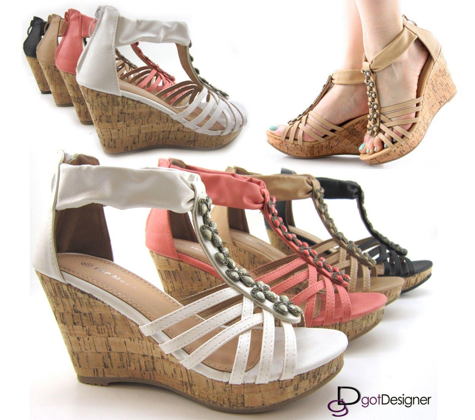 T- Strap Open Toe Wedge Heel Platform Sandal Pendant Top Moda Sexy Stone Pendant Sandal NEW 3c3894