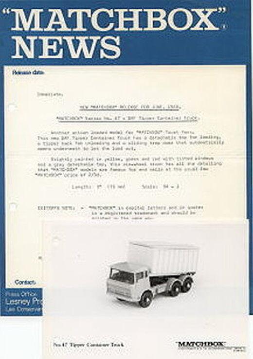 MATCHBOX News juin 1968 numéro 47c DAF xjack camion avec s & w photo | De Gagner Une Grande Admiration