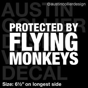 6-5-034-PROTECTED-BY-FLYING-MONKEYS-vinyl-decal-car-truck-window-laptop-sticker