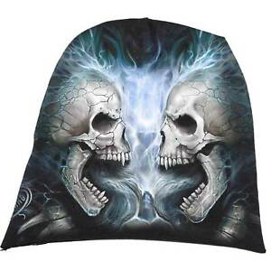 New Flaming Spine Beanie Lightweight Knit Hat Skulls Flames And