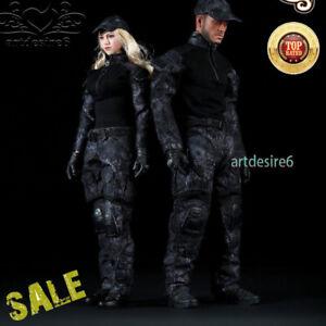 1-6-schwarz-Snake-Camo-Uniform-Combat-Kleidung-Set-Fit-12-034-Koerper-Action-Figur-Spielzeug