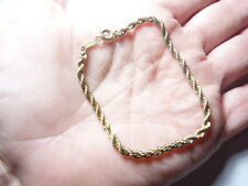 Vintage gold tone twisted metal chain bracelet  7 1/4 inches