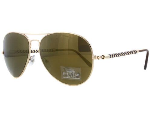 Invicta IEW 017 28 Gold Brown Mirror Sunglasses NEW !