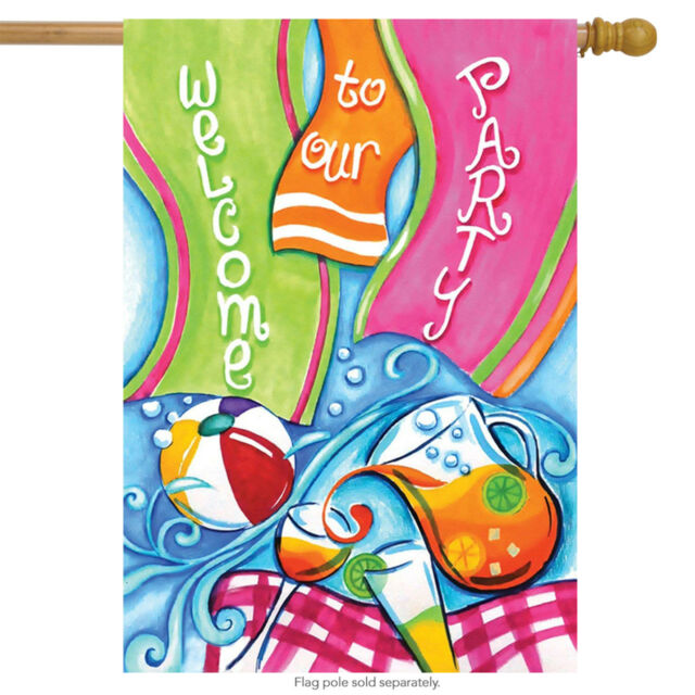 """Party Welcome Summer House Flag Cocktails Pool Drinks 28/"""" x 40/"""""""