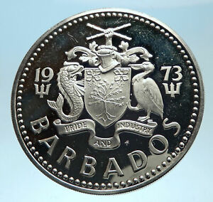 1973-BARBADOS-Proof-Arms-Fountain-Trafalgar-Antique-Silver-5-Dollars-Coin-i77465