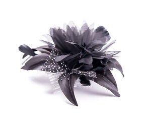 Image is loading Black-Feather-Comb-Fascinator-Wedding-Races-Proms-Bridal- 34b70c4aace